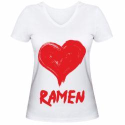 Жіноча футболка з V-подібним вирізом Love ramen