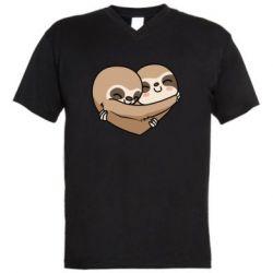 Чоловіча футболка з V-подібним вирізом Love sloths