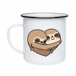 Кружка емальована Love sloths