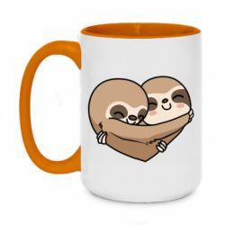 Кружка двоколірна 420ml Love sloths