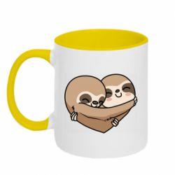Кружка двоколірна 320ml Love sloths