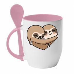 Кружка з керамічною ложкою Love sloths
