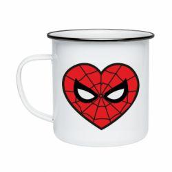 Кружка емальована Love spider man