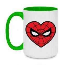 Кружка двоколірна 420ml Love spider man