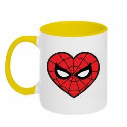 Кружка двоколірна 320ml Love spider man