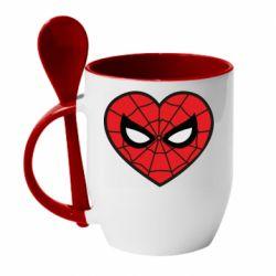 Кружка з керамічною ложкою Love spider man
