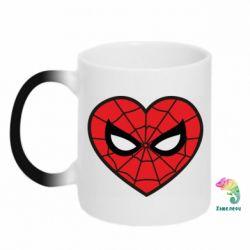 Кружка-хамелеон Love spider man