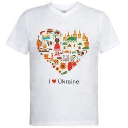 Мужская футболка  с V-образным вырезом Love Ukraine Hurt