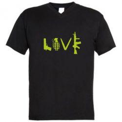 Мужская футболка  с V-образным вырезом Love (weapon)
