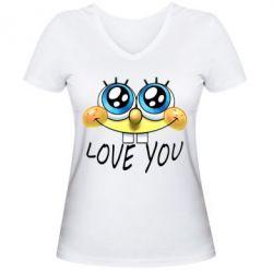 Женская футболка с V-образным вырезом Love you