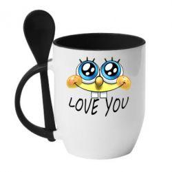 Кружка с керамической ложкой Love you