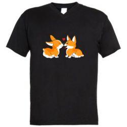 Мужская футболка  с V-образным вырезом Loving Corgi Couple