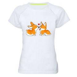 Женская спортивная футболка Loving Corgi Couple