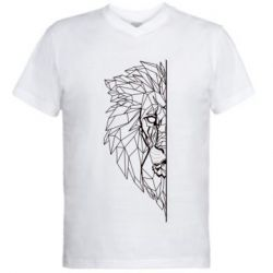 Чоловіча футболка з V-подібним вирізом Low poly lion head