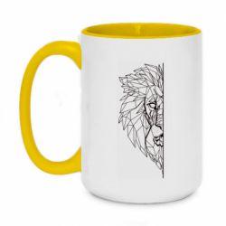 Кружка двоколірна 420ml Low poly lion head