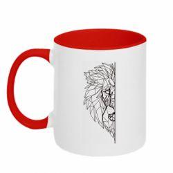 Кружка двоколірна 320ml Low poly lion head