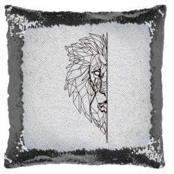 Подушка-хамелеон Low poly lion head
