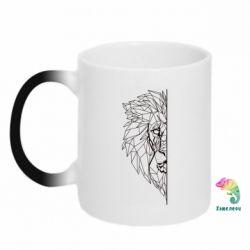 Кружка-хамелеон Low poly lion head