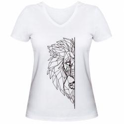 Жіноча футболка з V-подібним вирізом Low poly lion head