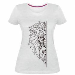 Жіноча стрейчева футболка Low poly lion head