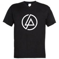 Мужская футболка  с V-образным вырезом LP logo - FatLine