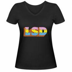 Женская футболка с V-образным вырезом Lsd text
