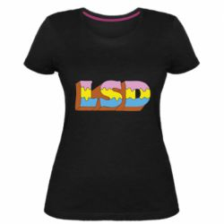 Женская стрейчевая футболка Lsd text