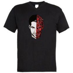 Мужская футболка  с V-образным вырезом Lucifer the man and the devil