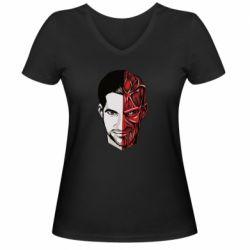 Женская футболка с V-образным вырезом Lucifer the man and the devil