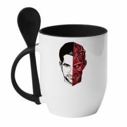 Кружка з керамічною ложкою Lucifer the man and the devil