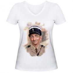 Жіноча футболка з V-подібним вирізом Луі Де Фюнес