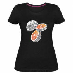Жіноча стрейчева футболка Місяць в розрізі