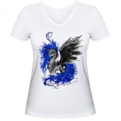 Купить Женская футболка с V-образным вырезом Лунная пони, FatLine