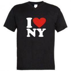 Мужская футболка  с V-образным вырезом Люблю Нью Йорк - FatLine