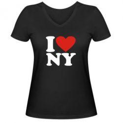 Женская футболка с V-образным вырезом Люблю Нью Йорк - FatLine