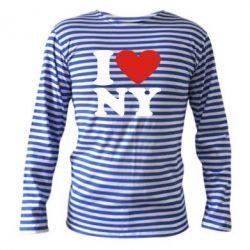 Тельняшка с длинным рукавом Люблю Нью Йорк - FatLine