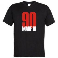 Мужская футболка  с V-образным вырезом Made in 90