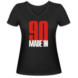 Женская футболка с V-образным вырезом Made in 90