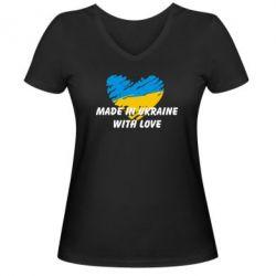 Женская футболка с V-образным вырезом Made in Ukraine with Love
