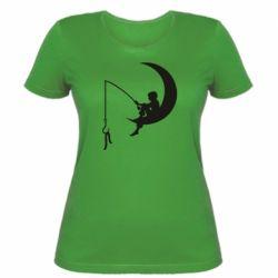 Женская футболка Мальчик рыбачит