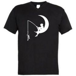 Мужская футболка  с V-образным вырезом Мальчик рыбачит