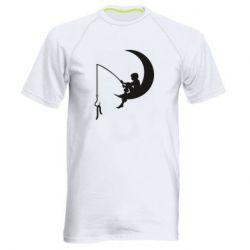 Мужская спортивная футболка Мальчик рыбачит