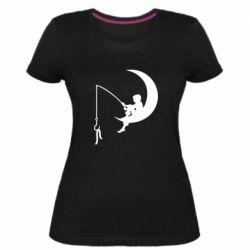 Женская стрейчевая футболка Мальчик рыбачит