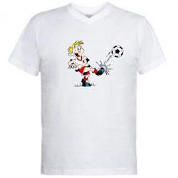 Мужская футболка  с V-образным вырезом Маленький футболист - FatLine
