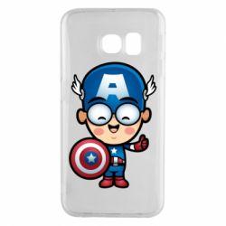 Чехол для Samsung S6 EDGE Маленький Капитан Америка