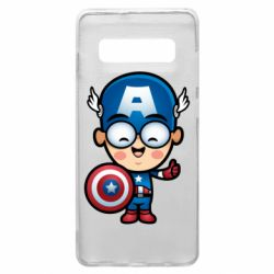 Чехол для Samsung S10+ Маленький Капитан Америка