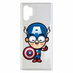 Чехол для Samsung Note 10 Plus Маленький Капитан Америка