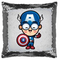 Подушка-хамелеон Маленький Капитан Америка