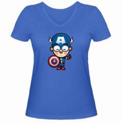 Женская футболка с V-образным вырезом Маленький Капитан Америка - FatLine