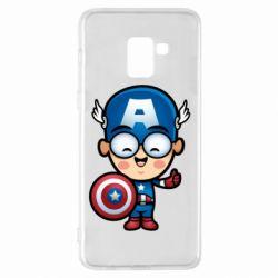 Чехол для Samsung A8+ 2018 Маленький Капитан Америка